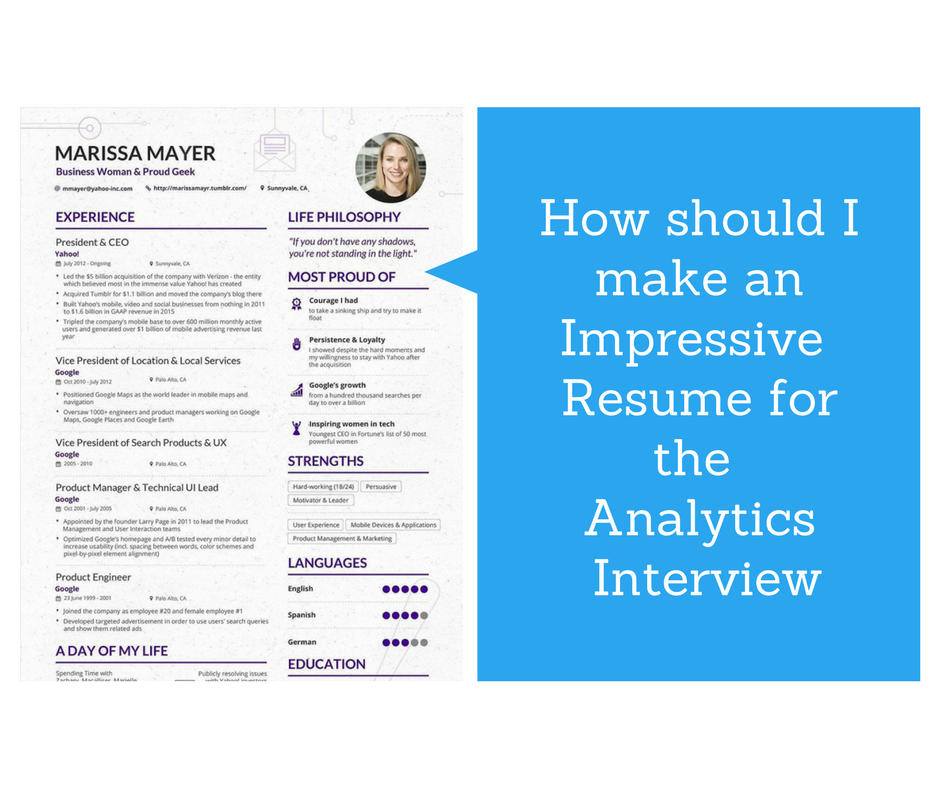 how should i make an impressive resume for the data